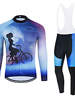 cheap -WECYCLE Men's Women's Long Sleeve Cycling Jersey with Bib Tights Cycling Jersey with Tights Winter Polyester Black Blue Black / White Bike Clothing Suit Breathable 3D Pad Quick Dry Warm Reflective