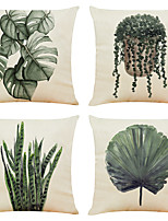 cheap -Set of 4 Green Plants Linen Square Decorative Throw Pillow Cases Sofa Cushion Covers 18x18