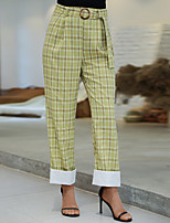 cheap -Women's Basic Breathable Loose Daily Chinos Pants Plaid Checkered Ankle-Length High Waist Green