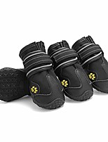 cheap -pet boots waterproof outdoor dog shoes with anti-slip sole and reflective strap breathable pet paw protectors for medium/large dog 4pcs (5#,black)