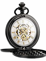cheap -pocket watch retro smooth classic mechanical hand-wind pocket watch steampunk roman numerals fob watch for men women with chain + box