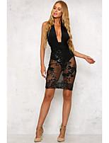 cheap -Women's Sheath Dress Short Mini Dress - Sleeveless Solid Color Sequins Patchwork Summer Elegant 2020 Black Gold S M L XL