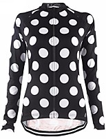 cheap -21Grams Women's Long Sleeve Cycling Jersey Winter Fleece Polyester Black Polka Dot Bike Jersey Top Mountain Bike MTB Road Bike Cycling UV Resistant Breathable Quick Dry Sports Clothing Apparel / Warm