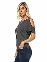 cheap -women's cold shoulder open shoulder cutout short sleeve top (x-large, charcoal)