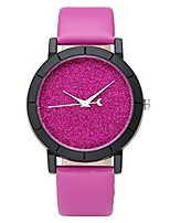 cheap -fashion womens flash power dial moon second hand non-scale black case leather band analog quartz wrist watch - rose red