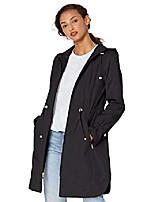 cheap -women's hooded anorack rain coat, black, x-large