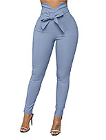 cheap -women's casual high waist stretch trousers solid pencil pants with tie blue