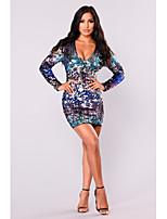 cheap -Women's Shift Dress Short Mini Dress - Long Sleeve Solid Color Sequins Patchwork Fall Sexy 2020 Blue S M L XL