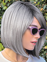cheap -Synthetic Wig Straight Bob Asymmetrical Wig Short Brown Grey Synthetic Hair Women's Fashionable Design Exquisite Comfy Brown Gray