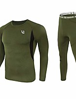 cheap -men's thermal underwear sets top & long johns fleece sweat quick drying thermo (sets army green, xl)