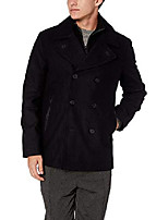 cheap -men's emmett melton pea coat jacket with knit bib, midnight, large