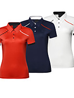 cheap -Women's Golf Polo Shirts Short Sleeve Breathable Quick Dry Soft Sports Outdoor Autumn / Fall Spring Summer Cotton Solid Color White Red Royal Blue / Stretchy