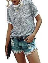 cheap -women& #39;s leopard print t-shirts casual cute tops basic short sleeve blouses shirts grey