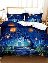 cheap -3D Digital Print Halloween Duvet Cover Set, Happy Halloween Pumpkins Night Cat Image, Decorative 2/3 Piece Bedding Set with 1 or 2 Pillow Shams, Queen King Size