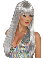 cheap -womens glitter disco costume wig, silver, one size us