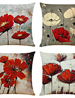 cheap -Set of 4 Artistic Flowers Linen Square Decorative Throw Pillow Cases Sofa Cushion Covers 18x18