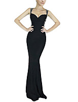 cheap -Mermaid / Trumpet Beautiful Back bodycon Party Wear Formal Evening Dress Scoop Neck Sleeveless Floor Length Spandex with Crystals 2020