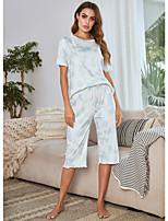 cheap -Women's Home Polyester Loungewear Drawstring Tie Dye S Blue