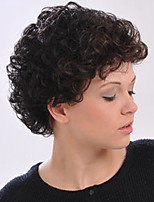 cheap -Synthetic Wig Bouncy Curl Asymmetrical Wig Short Light Brown Dark Brown Grey Black Synthetic Hair Women's Fashionable Design Exquisite Black Dark Brown