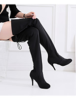 cheap -Women's Latin Shoes Boots Slim High Heel Satin Buckle Black