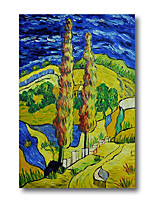 cheap -Stretched Oil Painting Hand Painted - Abstract Contemporary Modern Canvas High Quality Van Gogh Night Cypress