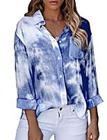 cheap -women's long sleeve button down gradient tie dye print tunic shirt blouse tops with pocket, blue