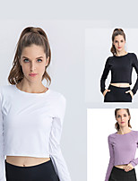cheap -Women's Tee / T-shirt Crop Top Crew Neck Spandex Solid Color Sport Athleisure T Shirt Long Sleeve Breathable Quick Dry Moisture Wicking Yoga Exercise & Fitness Running Training Daily / Summer