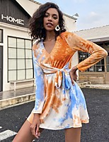 cheap -Women's A-Line Dress Short Mini Dress - Long Sleeve Tie Dye Lace up Fall Casual 2020 Orange S M L