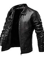 cheap -men's leather jacket vintage faux leather jacket motorcycle biker outwear