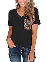 cheap -womens short sleeves casual loose v neck t shirts basic tops leopard pocket black xl