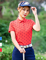 cheap -Women's Golf Polo Shirts Short Sleeve Breathable Quick Dry Soft Sports Outdoor Autumn / Fall Spring Summer Cotton White Red / Stretchy