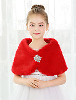 cheap -Sleeveless Shawls Rabbit Fur Wedding / Party / Evening Kids' Wraps With Crystal Brooch