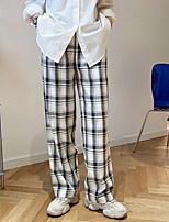 cheap -Women's Loose Daily Pants Pants Plaid Checkered Full Length High Waist White Camel