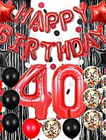 cheap -40th birthday decorations black and red 40 birthday decorations for women men happy birthday balloons banner black foil fringe curtain for photo booth backdrop paper garland red number 40 balloons