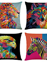 cheap -Set of 4 Fashion Animal Linen Square Decorative Throw Pillow Cases Sofa Cushion Covers 18x18