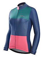 cheap -Nuckily Women's Long Sleeve Cycling Jersey Winter Blue+Pink Polka Dot Bike Jersey Top Road Bike Cycling Warm Sports Clothing Apparel / Micro-elastic