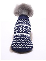 cheap -pet dog cat warm knitwear sweater puppy snowflake coat (xl, dark blue)