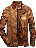 cheap -but& #39;s stand collar leather jacket motorcycle lightweight faux leather outwear & #40;brown, xx-large& #41;