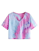 cheap -women's casual v neck short sleeve tie dye crop top t shirt purple xs