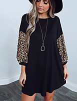 cheap -Women's A-Line Dress Short Mini Dress - Long Sleeve Leopard Patchwork Print Spring Fall Sexy 2020 Black S M L XL