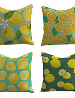 cheap -Set of 4 Linen Cotton / Linen Pillow Cover Pillowcase Sofa Cushion Square Throw Pillow Lemon Fruit Print Pillows Case 45*45cm