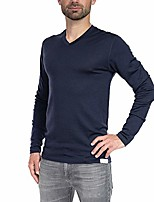 cheap -woolly clothing men's merino wool long sleeve v-neck shirt - everyday weight - wicking breathable anti-odor l mrn