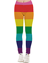 cheap -Women's Sporty Yoga Quick Dry Plus Size Skinny Daily Leggings Pants Print Ankle-Length High Waist Rainbow