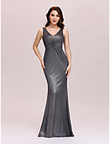 cheap -Mermaid Trumpet Minimalist Sexy Party Wear Formal Evening Dress V Neck Sleeveless Floor Length Jersey with Appliques 2020