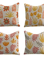 cheap -Set of 4 Linen Cotton / Linen Pillow Cover Pillowcase Sofa Cushion Square Throw Pillow Yellow Leaves Pillows Case 45*45cm