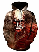 cheap -Inspired by Attack on Titan Beast Armored Titan Cosplay Costume Hoodie Plush Fabric Print Printing Hoodie For Men's / Women's