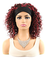 cheap -14 inch Black Burgundy Deep Curly Hair With Wig Headgear African Medium And Long Curly Hair Wig Headgear With Random Color Hairband