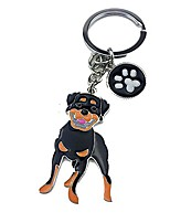 cheap -dog keychain ring, cool cute pet dog keyring bag charm mini metal key ring keyfob (rottweiler)