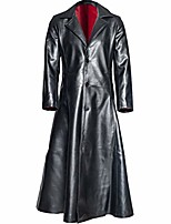 cheap -2019 men's faux leather long trench coat the matrix neo long jacket coat gothic winter jacket s-12xl black