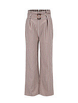 cheap -Women's Basic Comfort Cotton Loose Daily Wide Leg Pants Plaid Checkered Ankle-Length High Waist Khaki